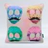 Colorful mustache skulls
